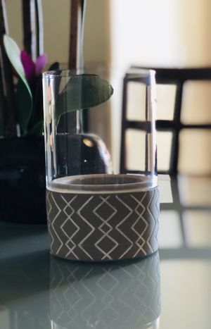 """Beautiful Gray with White Heavy Ceramic Candle Holder. 7"""" x 5"""" **PICKUP ONLY ** for Sale in Tempe, AZ"""