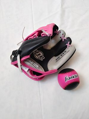 Franklin 0.5 N Girl Baseball Glove and Ball. Franklin RTP Girl Glove. for Sale in Riverside, CA
