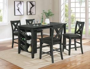 5 piece Black Wire Brushed Counter Height Dining Table Set Storage Shelves for Sale in Porter Ranch, CA
