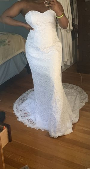 Size 14 - White Lace, Wedding dress, Prom Dress, Evening gown for Sale in Dedham, MA