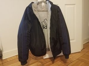 Adidas jacket with sweatshirt lining, black with blue stripes for Sale in Washington, DC