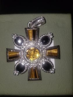 Judith Ripka Sterling Silver Tigers Eye Citrine Onyx Maltese Cross Key Necklace for Sale in Roosevelt,  NY