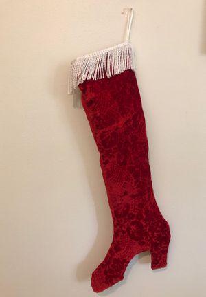 Lovely deep red velvet high heel Christmas stocking for Sale in Columbia, MO