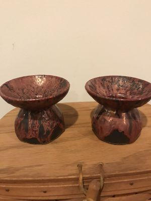 Candle holders from Pottery with drip glaze. Purchased in Germany while visiting a convent. Made by nuns. $15 for the pair for Sale in Ellicott City, MD
