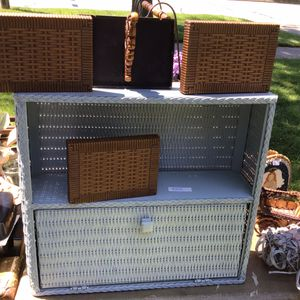 Wicker sleigh and shelves for Sale in Girard, PA