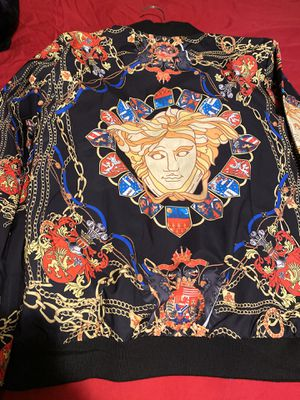 Versace jacket xxl fit like L $150 or trade for christian Shoes gucci or versace? for Sale in Lodi, CA