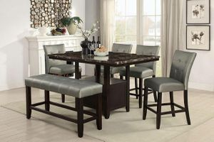6 PIECE COUNTER HEIGHT DINING TABLE BENCH FAUX MARBLE TOP SILVER STOOLS for Sale in Riverside, CA