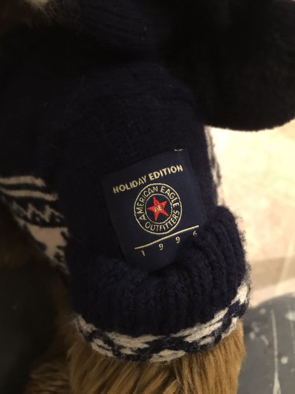 American Eagle Teddy Bear With Sweater And Beanie