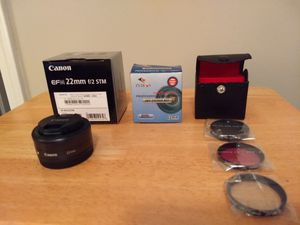 Brand NEW! Canon EF-M 22mm f/2 STM lens with 3 filters for Sale in Atlanta, GA