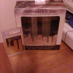 SEPTEMBER 11, 2001 THE TOWERS OF LIGHT MEMORIAL FLAME (2001, Made Item): Along with, NEVER FORGET SEPTEMBER 12, 2001(2002 23 KT GOLD COLLECTIBLES). for Sale in Paramount, CA