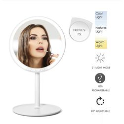 New Lighted Makeup Mirror, PinSpace Vanity Mirror with 66 LED Lights 3 Color 21 Modes, with 7x Magnification Small Mirror, Rechargeable Detachable Por for Sale in Hacienda Heights,  CA