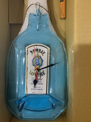 Bombay Sapphire Gin Glass Bottle Wall Clock for Sale for sale  New York, NY
