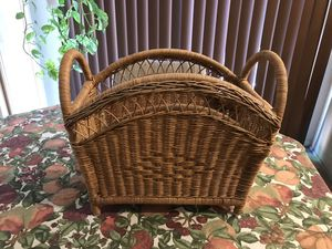 Vintage Natural Rattan Wicker Woven Magazine Rack for Sale in Las Vegas, NV