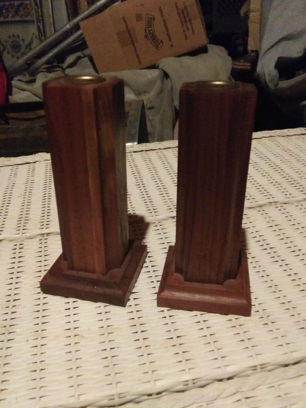 Twin Wood Candle Holders