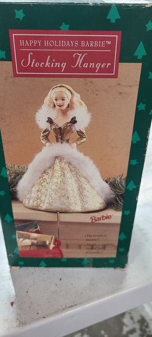Happy holidays barbie stocking hanger for Sale in Snellville, GA
