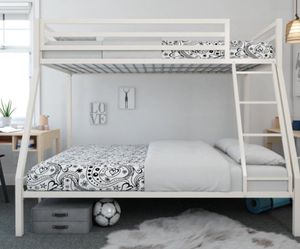 New!! Bed, full bed, twin bed, twin over full bunk bed, metal full bunk bed, bunk bed, bedroom furniture , white for Sale in Phoenix, AZ