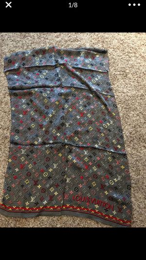 New authentic Louis Vuitton black multicolor 100% silk scarf for Sale in Montvale, NJ