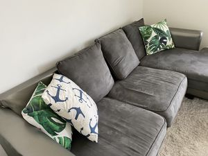 Couch For Sale (Green leaf pillows and puppy not included!) for Sale in Brooklyn, NY