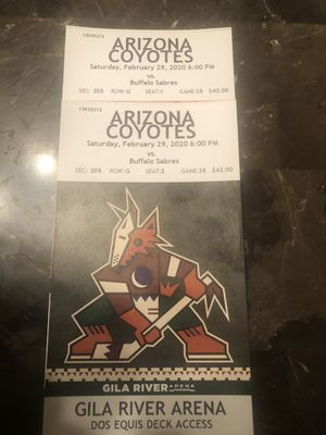 Coyotes vs Sabres 2 Upper Level Tickets $40$ each for Sale in Glendale, AZ