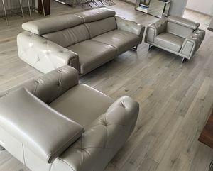 3 piece modern sofa set - grey leather for Sale in North Miami, FL