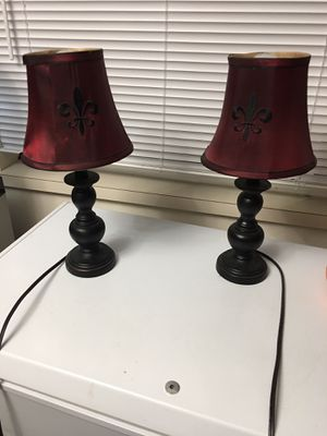 2 Fleur lamps, 2 tall candles, 2 silver candle holders, silver vase for Sale in Lakewood, WA