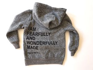Kids Handprinted Hoodie | Fearfully and the Wonderfully Made for Sale in Bainbridge Island, WA