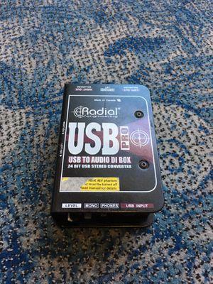 Radial engineering usb pro usb to audio DI box 24 bit usb stereo converter pro audio BCP006376 for Sale in Huntington Beach, CA