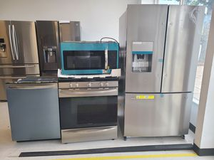 Frigidaire stainless steel French door refrigerator, gas stove, dishwasher &microwave new with 6month's warranty for Sale in Washington, DC