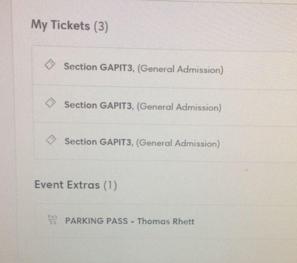 Thomas Rhett Pit Tickets