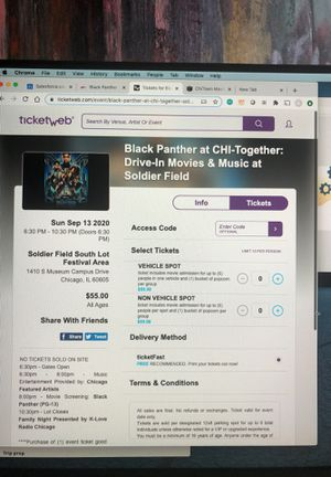 Black panther drive in movie tickets 9/13 for Sale in Chicago, IL