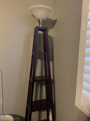 Tall Wooden Floor Lamp with Shelves as the Base for Sale in Mesa, AZ