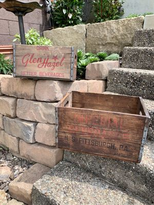 Pick up today $75 each primitive antique beverage wood crate box for Sale in Monroeville, PA