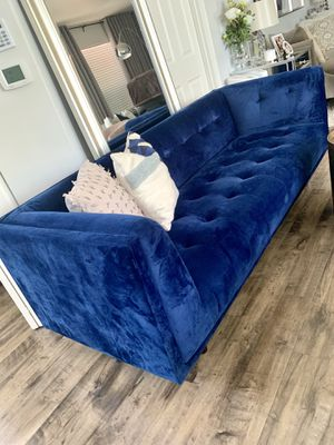 VELVET BLUE COUCH/SOFA BRAND NEW CONDITION! for Sale in Renton, WA