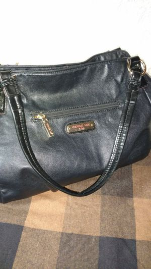 Nicole Lee black and gold leather satchel w black lace for Sale in Hot Springs, AR