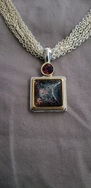 DAISY FUENTES SILVER CHAINS W/RED GEM & SQUARE PENDANT W/JEWELRY BOX - RETRO. for Sale for sale  Great Mills, MD