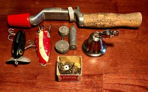 Vintage Fishing Rod with Lures Jitterbug, Tackle, Great Lakes Rod etc for Sale in Sterling Heights, MI