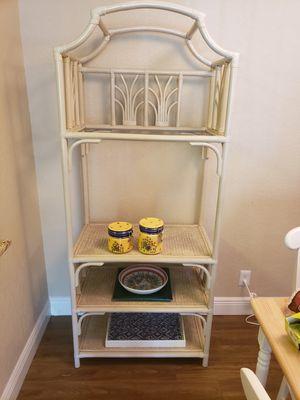 Off-white Wicker Rattan Etagere Shelf Bookcase, 3 Tier for Sale in LAUD BY SEA, FL