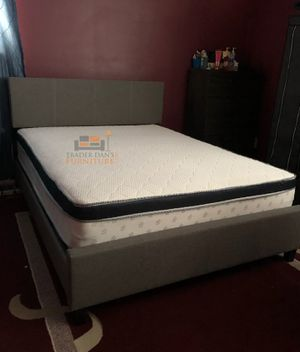 Brand New Queen Size Grey Upholstered Platform Bed + Pillowtop Mattress for Sale in Silver Spring, MD
