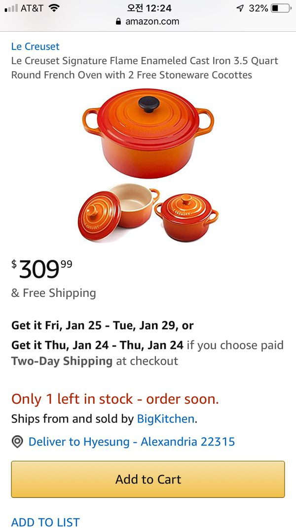 Le creuset 3.5 cocotte new in box