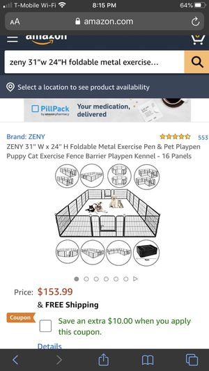 """Zeny 31""""w 24""""H Foldable Metal exercise pen & pet for Sale in Pico Rivera, CA"""