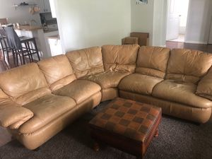 Real leather couch for Sale in Tampa, FL