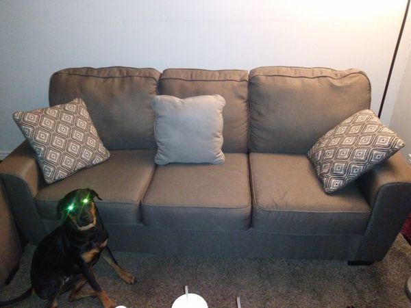 Ashley furniture love seat w/ sofa and throw pillows