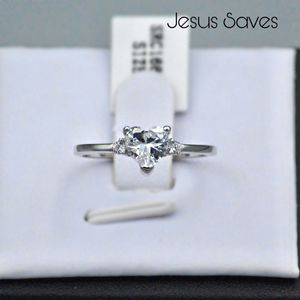 S925 Clear Heart CZ Ring SRC-16679 Size 6/7/8/9 for Sale in Fresno, CA