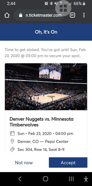 tickets to the Nuggets game for very cheap $30 for two tickets for Sale in Fort Collins, CO