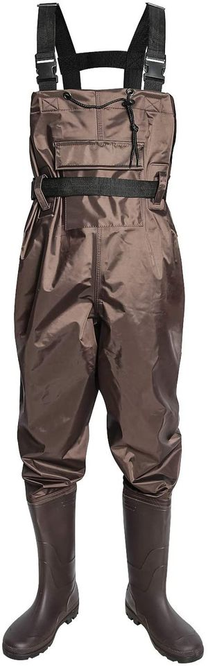 High Chest Waders with Boot, Fishing Waders 11 Inch Bootfoot Waterproof Nylon and PVC with Wading Belt Boot Hanger Durable Brown for Sale in Syosset, NY