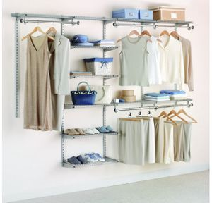Rubbermaid Configurations Deluxe Custom Closet Organizer System Kit, 4-to-8-Foot, Titanium, for Sale in San Diego, CA