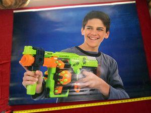 Nerf you gun hanging vinyl - wall - green - blue + dart for Sale in Naples, FL