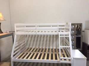 Stylish Twin/Full Bunk Bed, White for Sale in Downey, CA