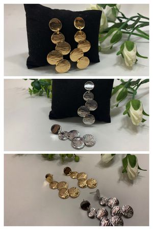 Long Vintage Round Coin Drop Disc Earrings, Gold and Silver Color (2 Sets) for Sale in Tustin, CA