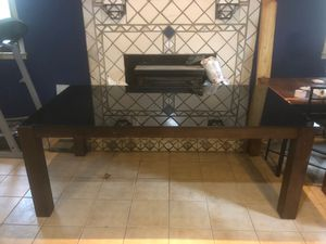 glass table with wooden structures without chairs. for Sale in Fairburn, GA
